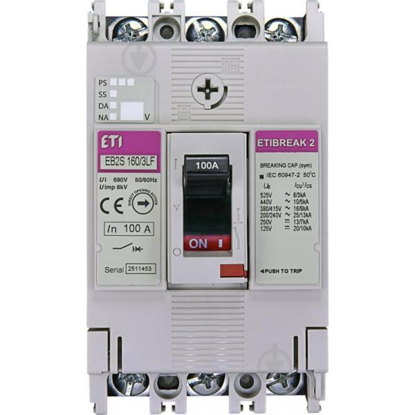 Автомат EB2S 160 / 3LF 100A (16kA, фікс. / Фікс.) 3P ETI