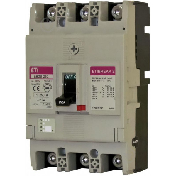 Автомат EB2S 250 / 3SF 250A (25kA, фікс. / Фікс.) 3P ETI